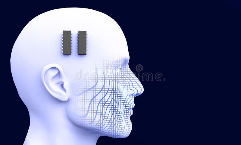 Microprocesador del cerebro stock de ilustración