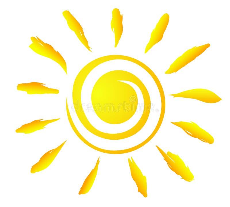 Un ejemplo creativo del vector del Sun espiral con los haces libre illustration