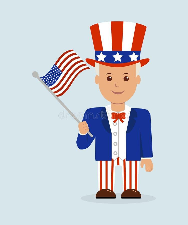 Un ejemplo de la historieta de un hombre patriótico con una bandera americana libre illustration