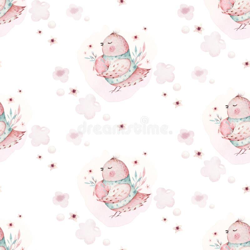 Un ejemplo de la primavera de la acuarela del pájaro y de los huevos lindos de bebé de pascua Modelo rosado inconsútil animal de  stock de ilustración