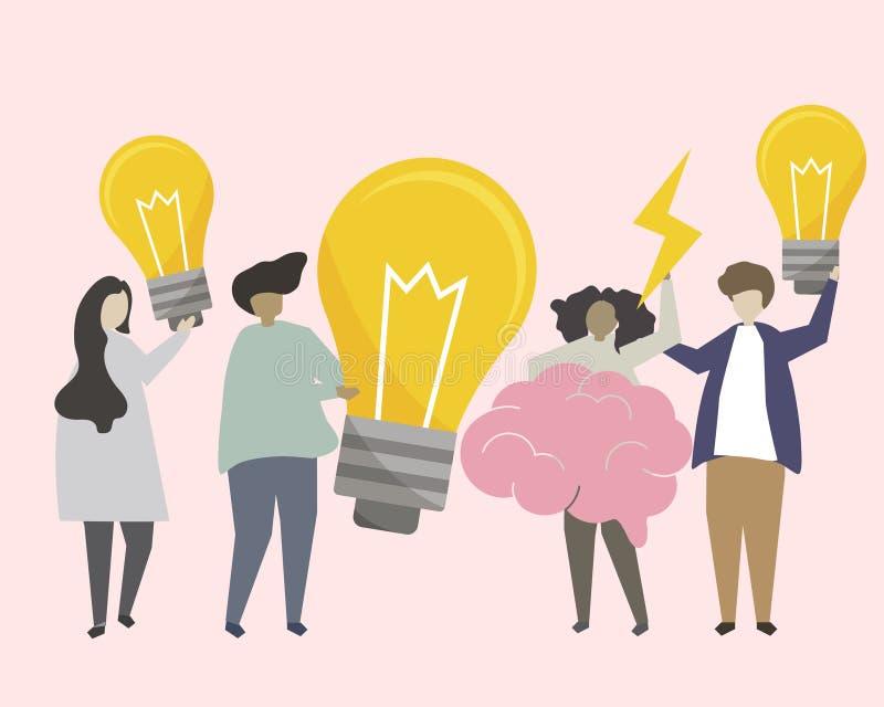 Un ejemplo de las ideas de la reunión de reflexión del grupo de personas stock de ilustración