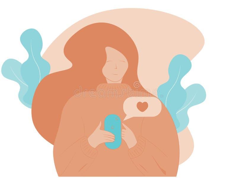 Un ejemplo de moda moderno de una chica joven que practica surf en Internet en un teléfono móvil libre illustration
