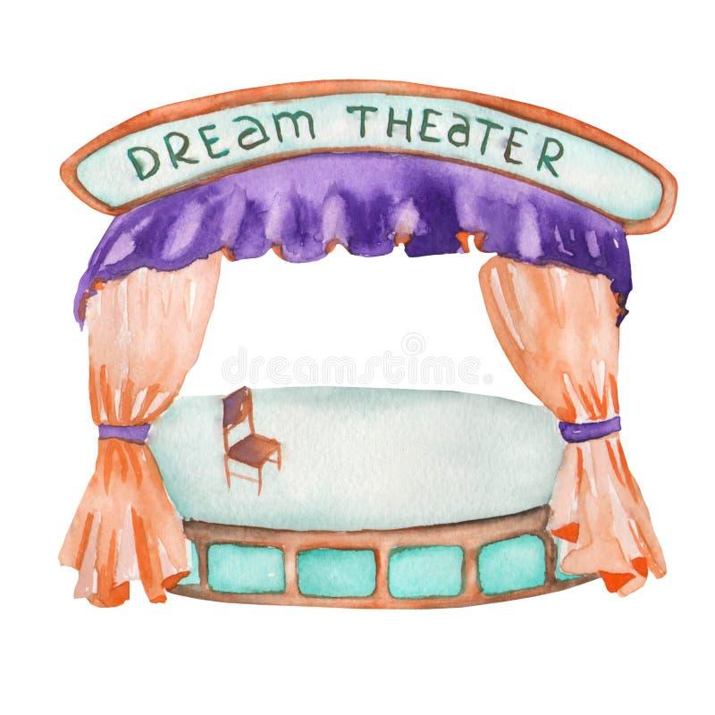 Un ejemplo de una etapa del teatro (escena) pintada en acuarela en un fondo blanco stock de ilustración