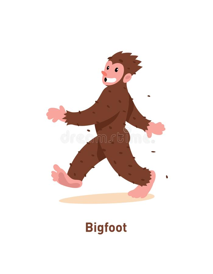 Un ejemplo de una historieta Bigfoot agradable Ilustración del vector Brown Bigfoot está caminando La imagen se aísla en el fondo ilustración del vector