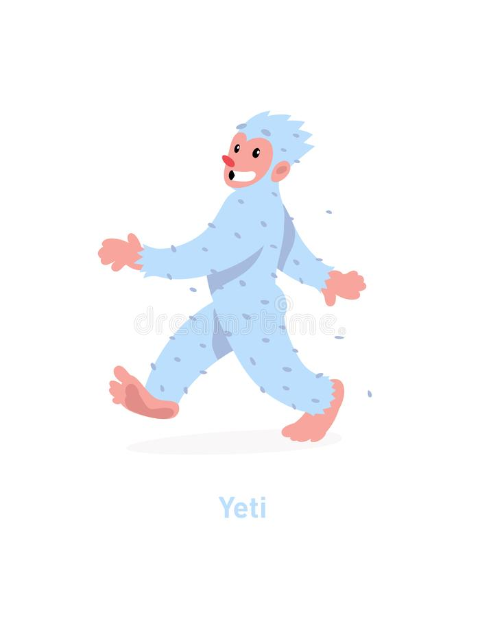Un ejemplo de un yeti de la historieta Ilustración del vector Un yeti blanco que camina está viniendo La imagen se aísla en el fo libre illustration