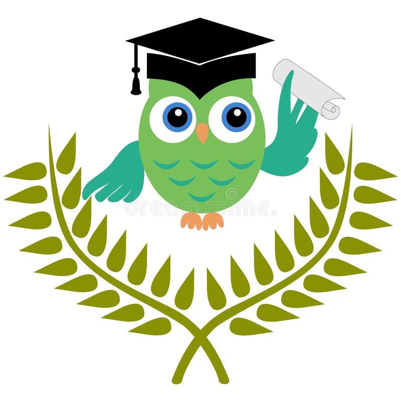 Búho con grado de la graduación stock de ilustración