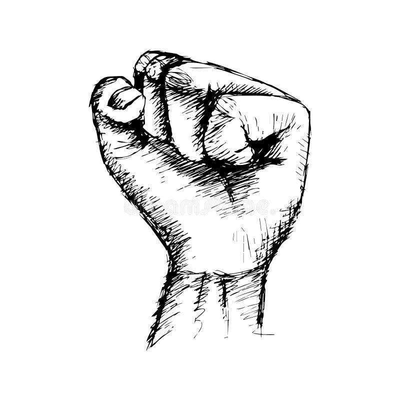 Un ejemplo del dibujo de la mano del puño apretado libre illustration