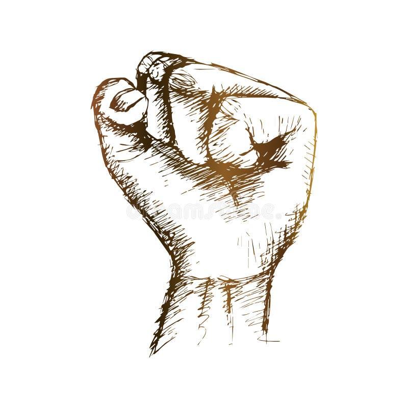 Un ejemplo del dibujo de la mano del pu?o apretado stock de ilustración