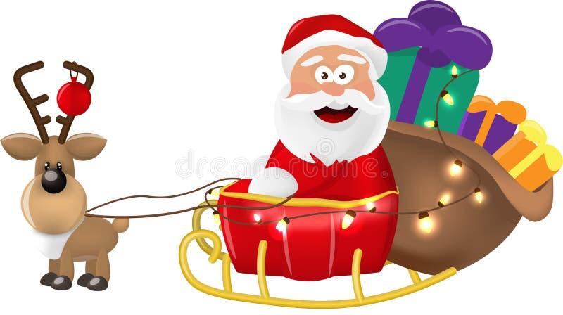 Un ejemplo del montar a caballo de Santa Claus en su trineo o trineo de la Navidad que entrega presentes En un fondo blanco aisla ilustración del vector