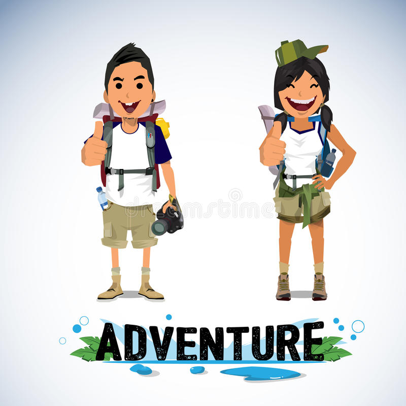 Un ejemplo del turismo de la aventura - muchacho y muchacha ilustración del vector
