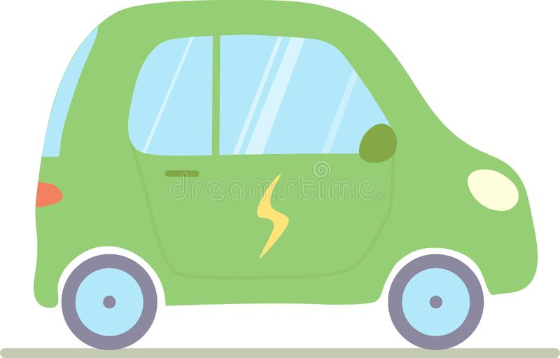 Un ejemplo del vector de un coche eléctrico aislado en un fondo blanco ilustración del vector