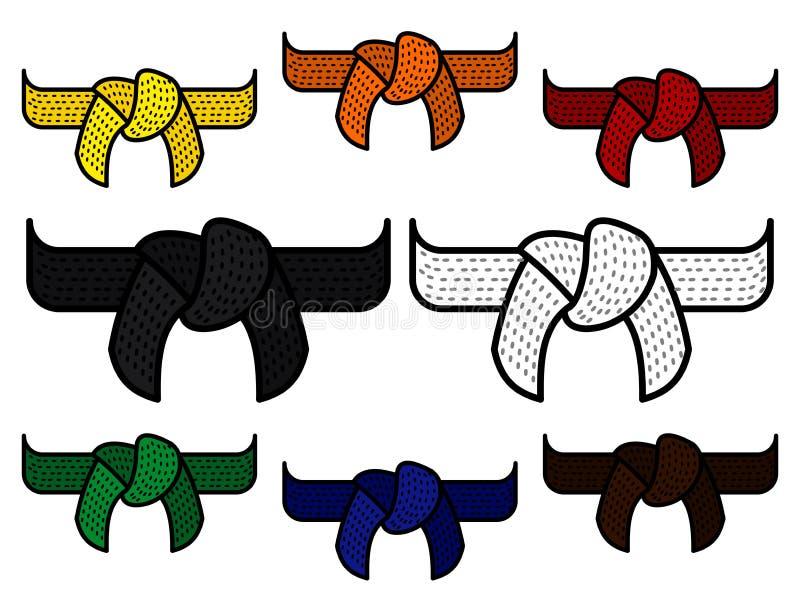 Un ejemplo del vector de las correas tradicionales de los artes marciales para calificar Correas de los artes marciales correas a stock de ilustración