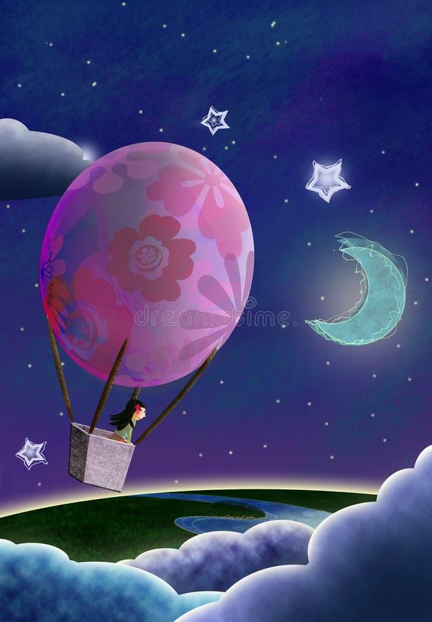 Un ejemplo digital de una muchacha que flota en un globo del aire caliente en la noche sobre la tierra y las nubes ilustración del vector