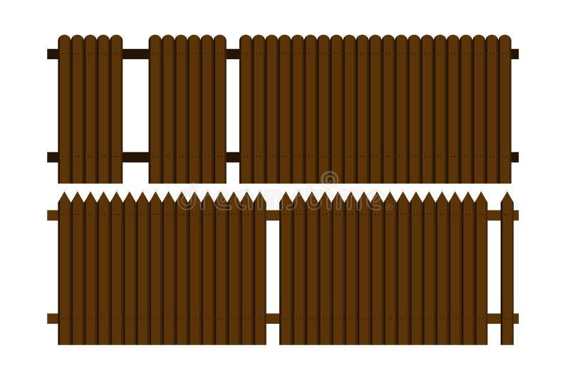 Un ejemplo hermoso de la cerca de madera ilustración del vector