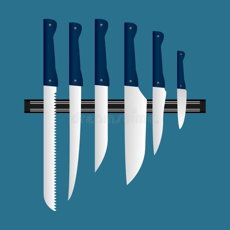 Un ejemplo hermoso de un sistema de cuchillos ilustración del vector