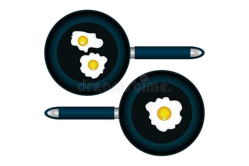 Un ejemplo hermoso de una cacerola con los huevos ilustración del vector