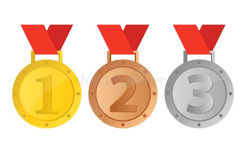 Un ejemplo hermoso del diseño del vector de la medalla del ganador fotos de archivo libres de regalías
