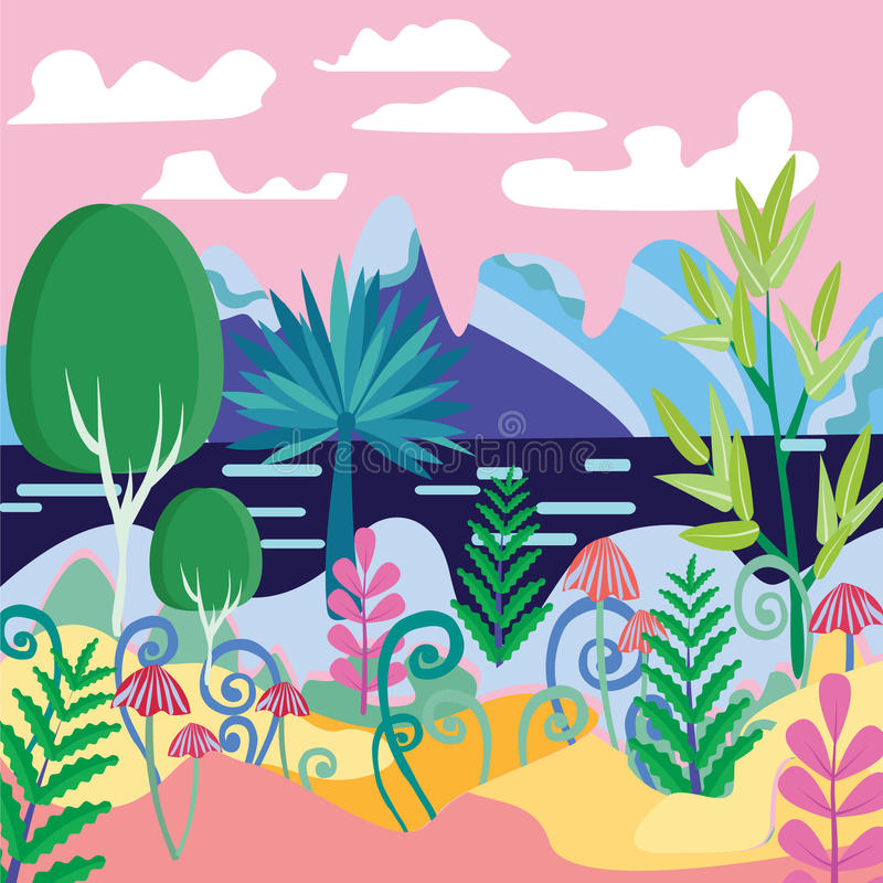 Un ejemplo mágico hermoso de la escena del bosque libre illustration