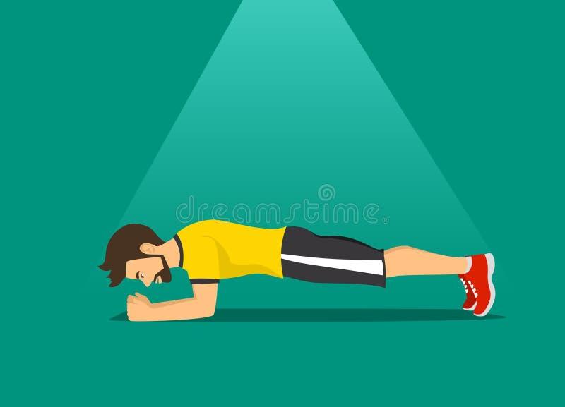 Un ejercicio, entrenamiento de entrenamiento en la posición del tablón ilustración del vector