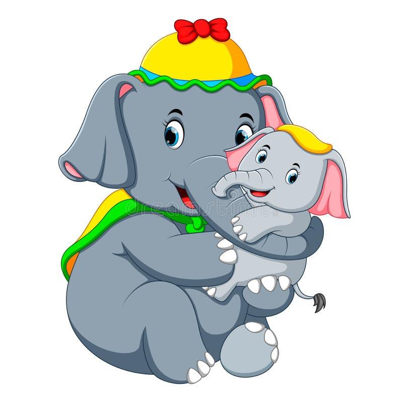 Un elefante che porta un cappello giallo e che gioca con un piccolo divertimento dell'elefante così royalty illustrazione gratis
