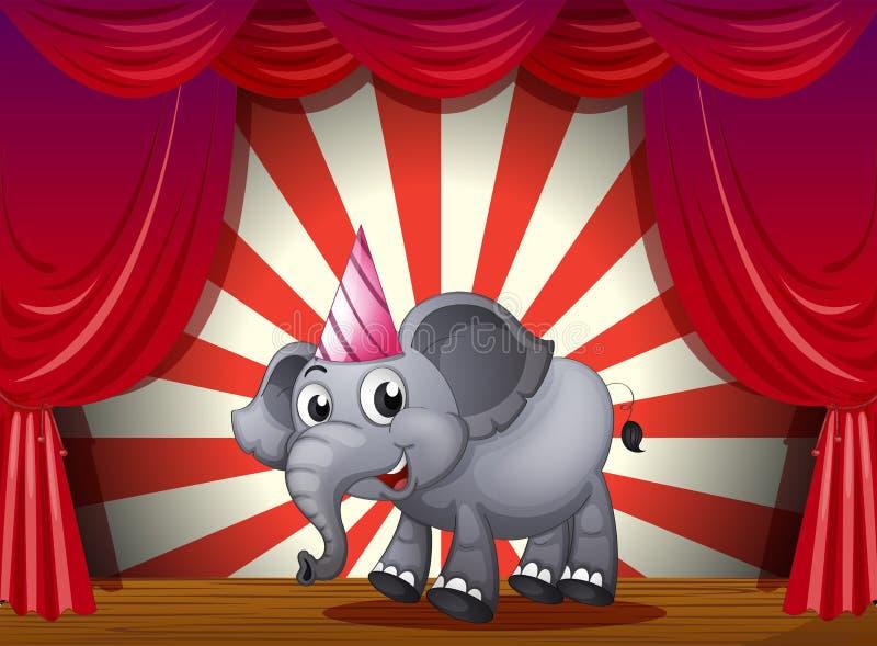 Un elefante che porta un cappello del partito nella fase illustrazione di stock