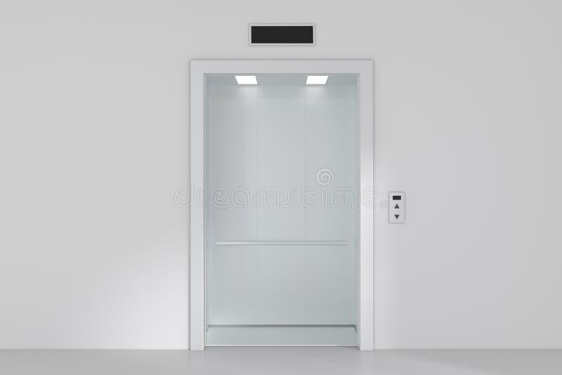 Un elevador o una elevación moderno vacío con las puertas del metal que están abiertas imagenes de archivo