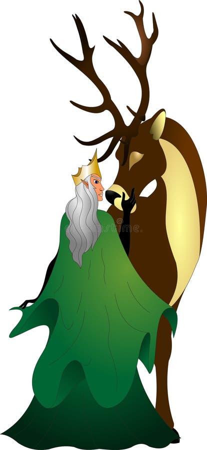 Un elfe de forêt dans un manteau vert avec un cerf commun brun illustration libre de droits