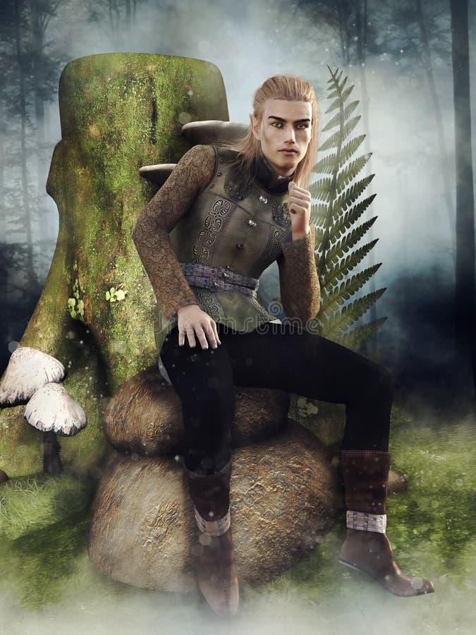Un elfo fantasy seduto su una roccia illustrazione di stock