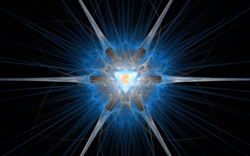 Un emblème fantastique sous forme de fleur cosmique avec une mi-couleur lumineuse dans une lueur bleue et le rayonnement rayonne  illustration stock