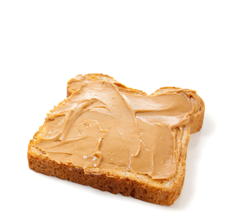 Un emparedado hecho frente abierto de la mantequilla de cacahuete imagenes de archivo