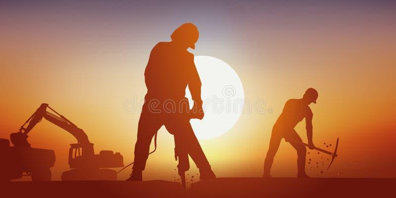 Un emplazamiento de la obra de la carretera con los hombres que trabajan difícilmente en el calor libre illustration