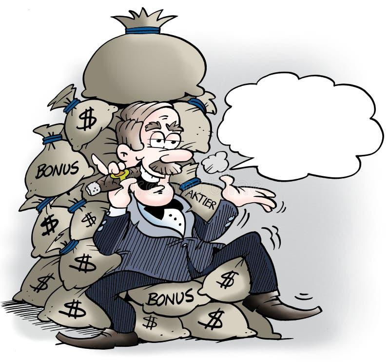 Un encargado rico con muchas primas stock de ilustración