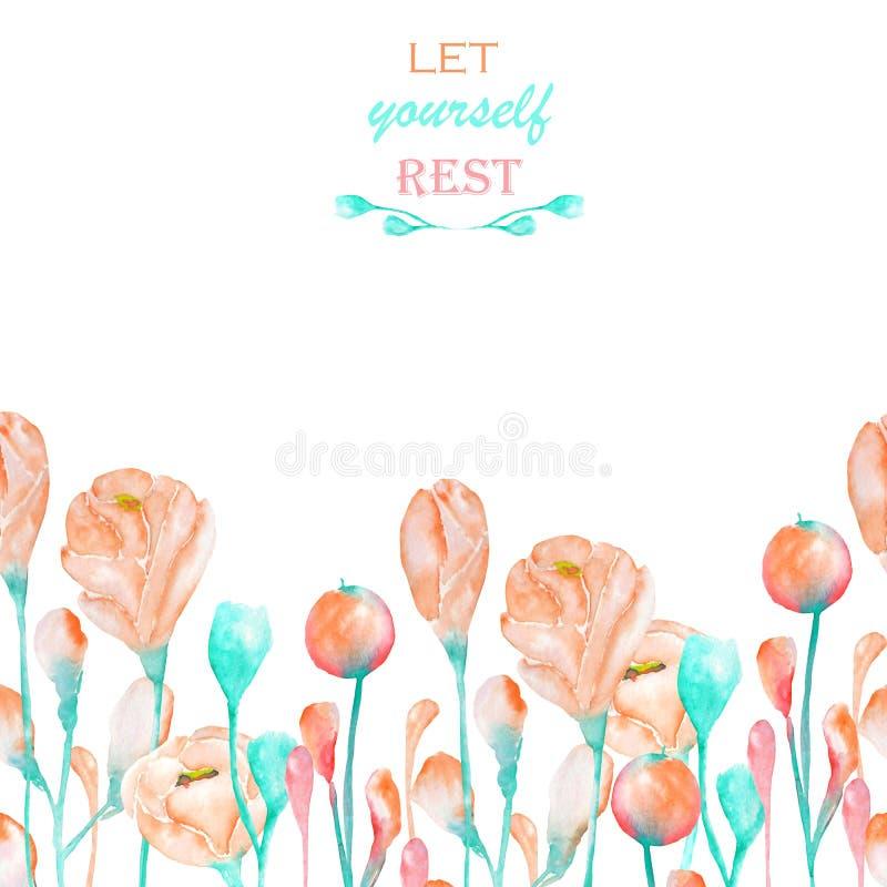 Un endroit décoratif (bannière) avec un ornement du rose de ressort d'aquarelle fleurit illustration de vecteur