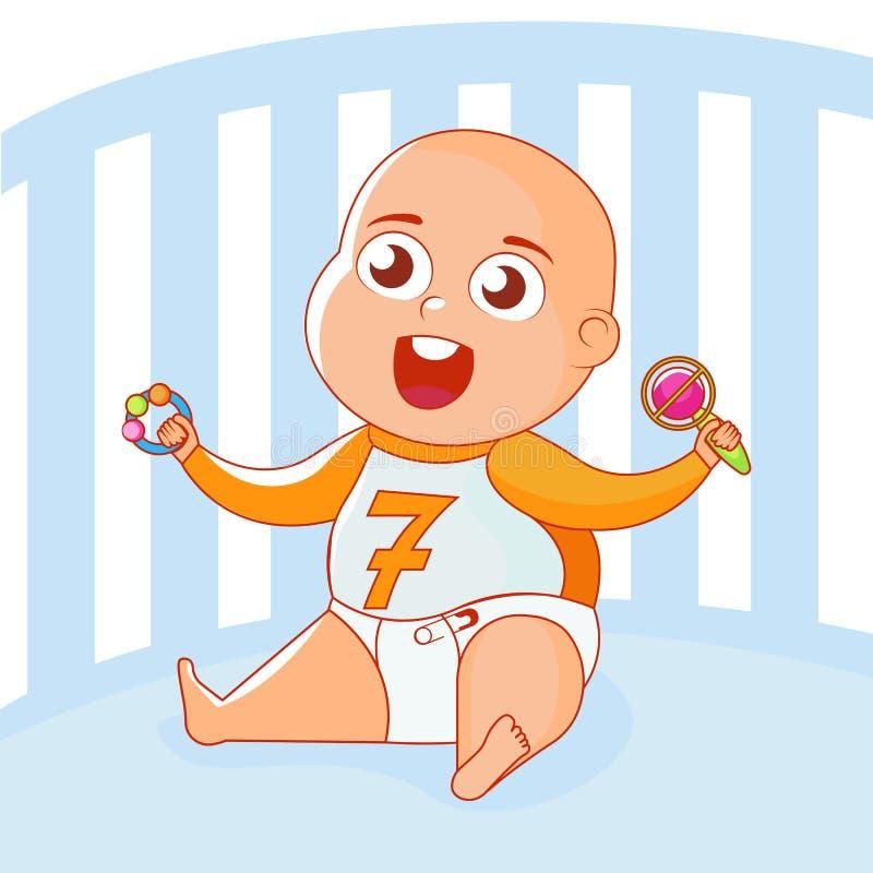Un enfant avec des jouets cliquette dans une berceuse illustration stock