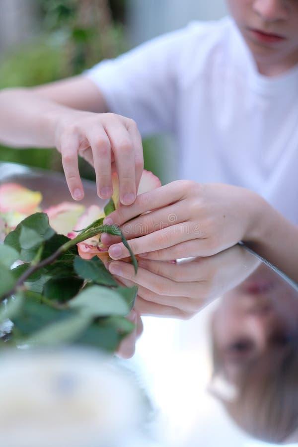 Un enfant jouant avec des pétales de rose images libres de droits