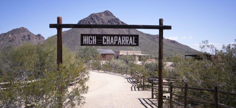 Un ensemble élevé de chaparal de vieux Tucson, Tucson, Arizona photographie stock libre de droits