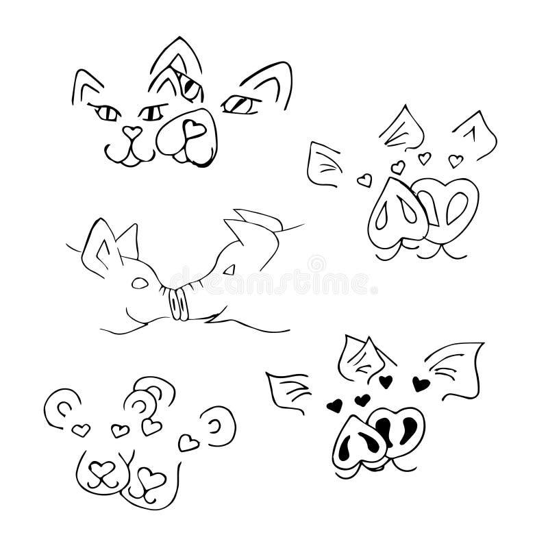 Un ensemble avec des museaux des animaux Dessin au trait image stock