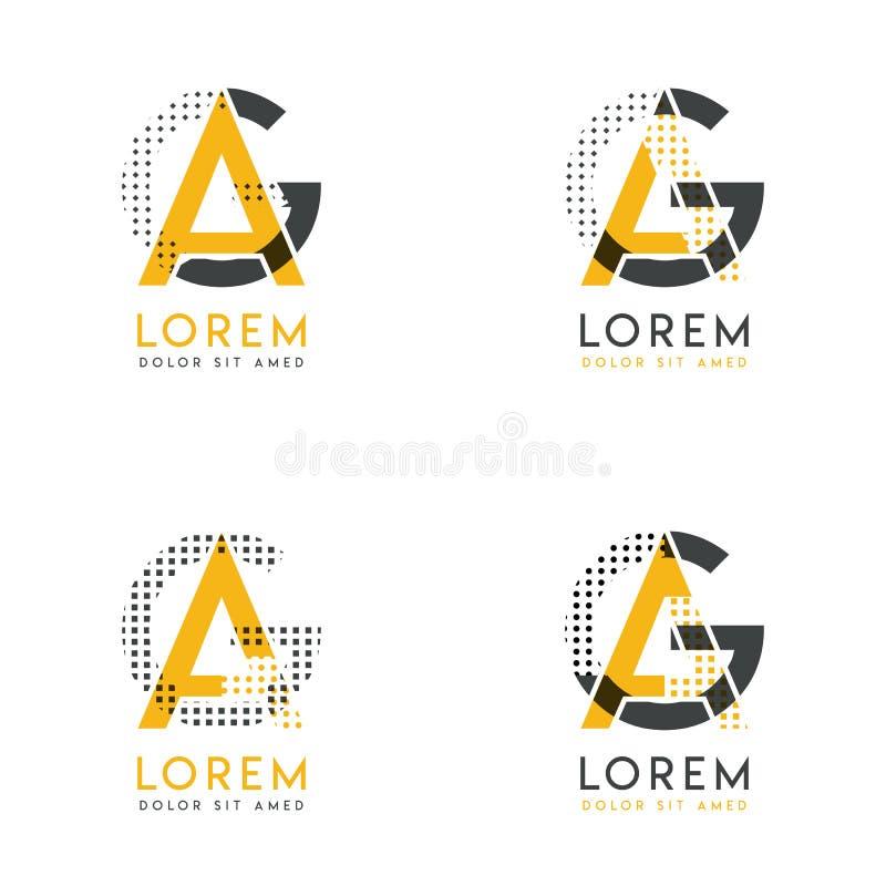 Un ensemble avec le logo abstrait d'AG quatre Approprié aux sites Web et à l'identité d'entreprise, et peut être employé pour la  illustration stock