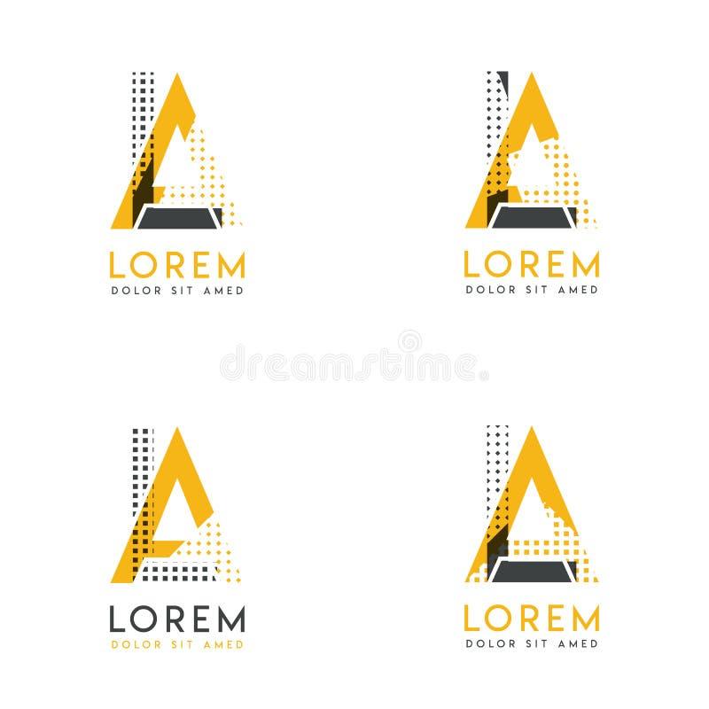 Un ensemble avec le logo abstrait d'AL quatre Approprié aux sites Web et à l'identité d'entreprise, et peut être employé pour la  illustration libre de droits