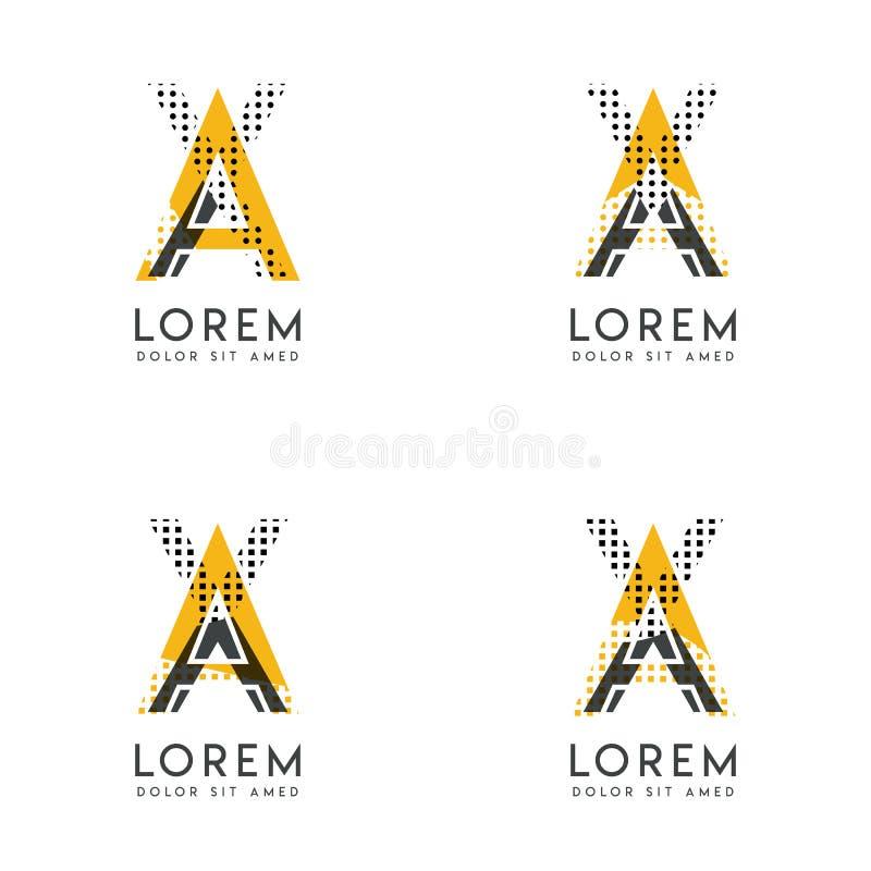 Un ensemble avec le logo abstrait de la HACHE quatre Approprié aux sites Web et à l'identité d'entreprise, et peut être employé p illustration stock