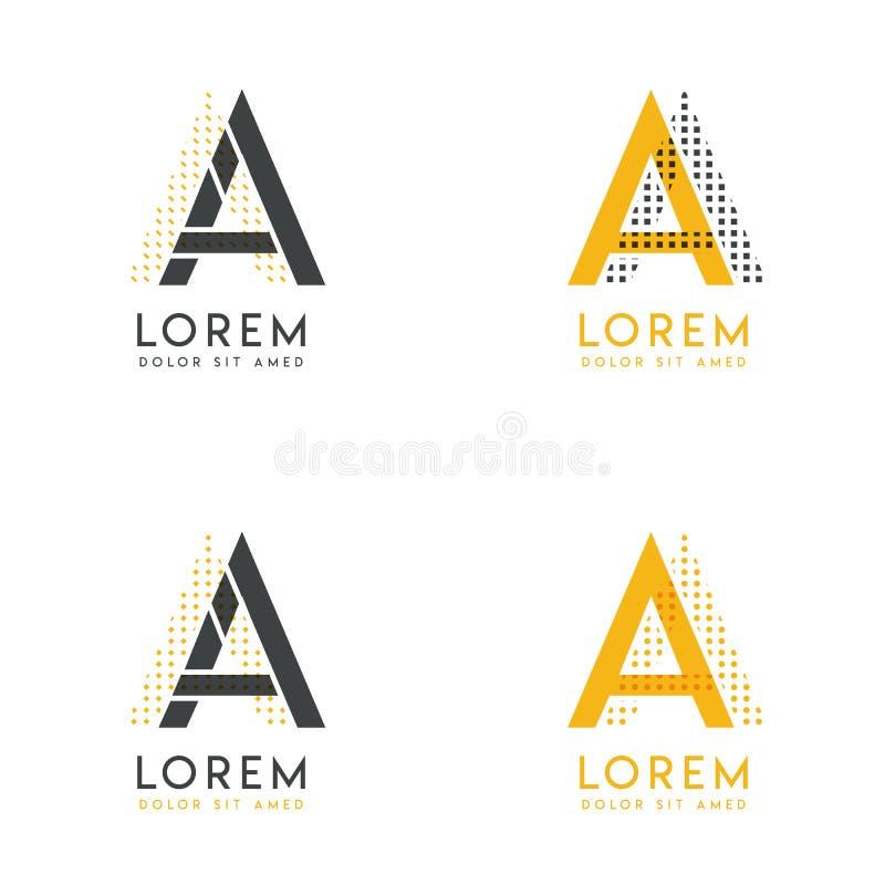 Un ensemble avec le logo abstrait de quatre aa Approprié aux sites Web et à l'identité d'entreprise, et peut être employé pour la illustration libre de droits
