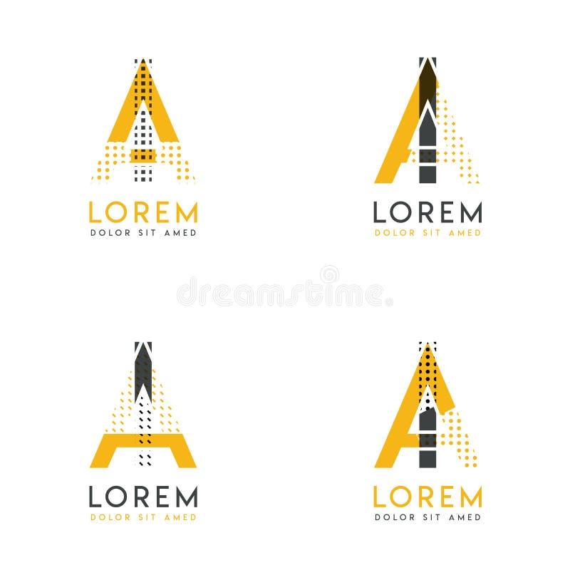Un ensemble avec le logo abstrait de quatre AI Approprié aux sites Web et à l'identité d'entreprise, et peut être employé pour la illustration libre de droits