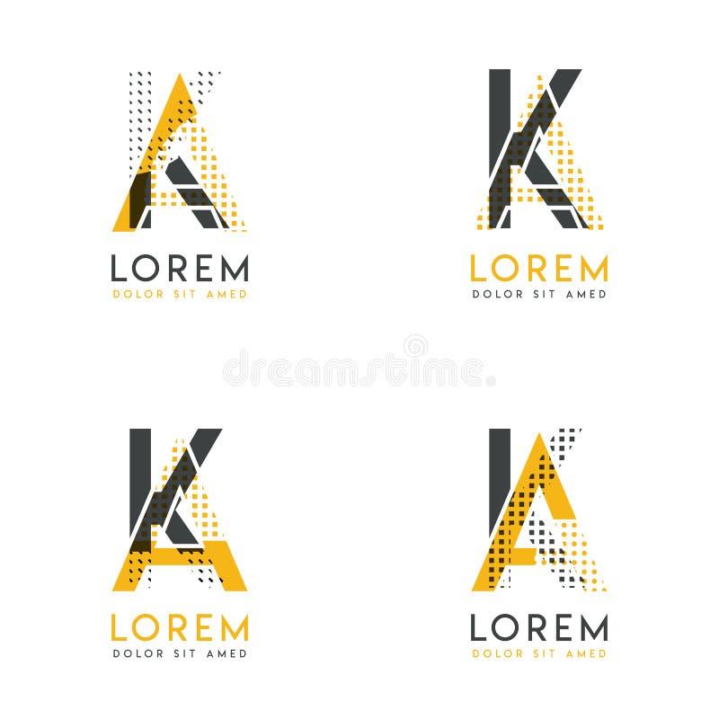 Un ensemble avec le logo abstrait de quatre AK Approprié aux sites Web et à l'identité d'entreprise, et peut être employé pour la illustration de vecteur