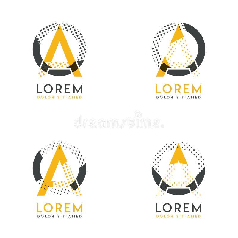 Un ensemble avec le logo abstrait de quatre ao Approprié aux sites Web et à l'identité d'entreprise, et peut être employé pour la illustration de vecteur