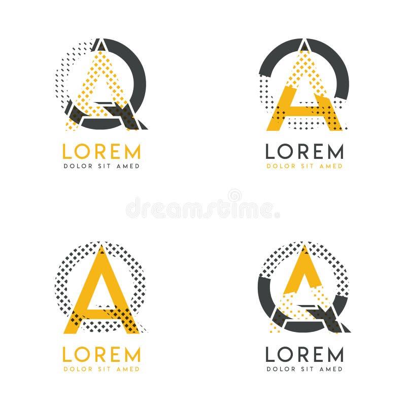 Un ensemble avec le logo abstrait de quatre AQ Approprié aux sites Web et à l'identité d'entreprise, et peut être employé pour la illustration libre de droits