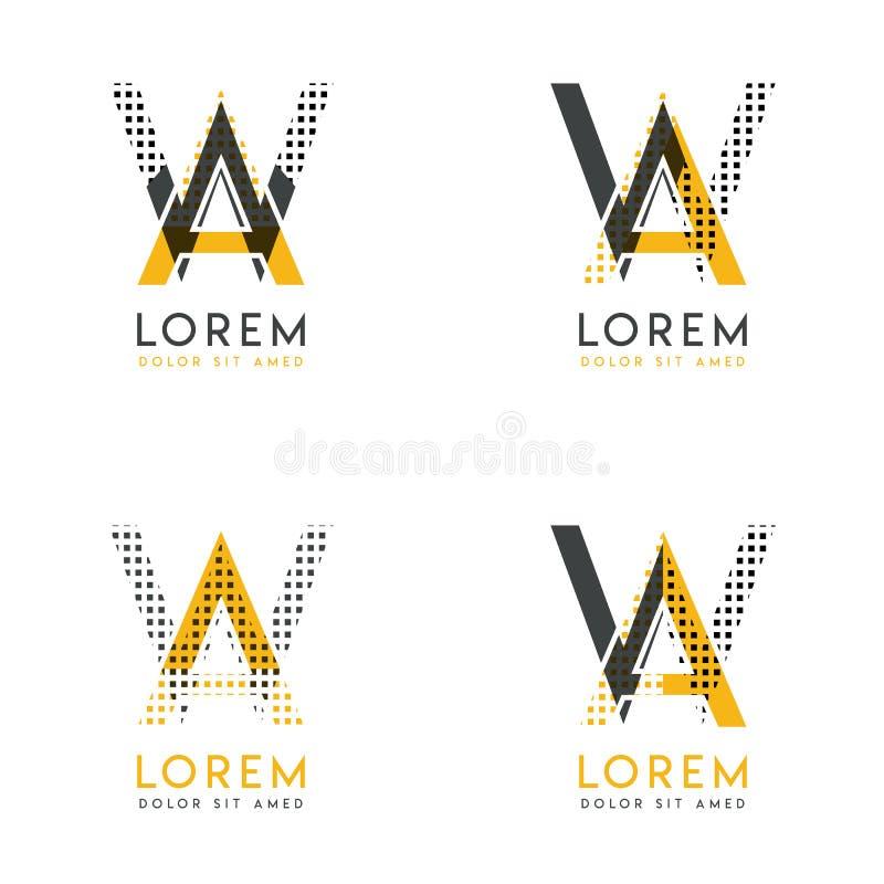 Un ensemble avec le logo abstrait de quatre aw Approprié aux sites Web et à l'identité d'entreprise, et peut être employé pour la illustration de vecteur