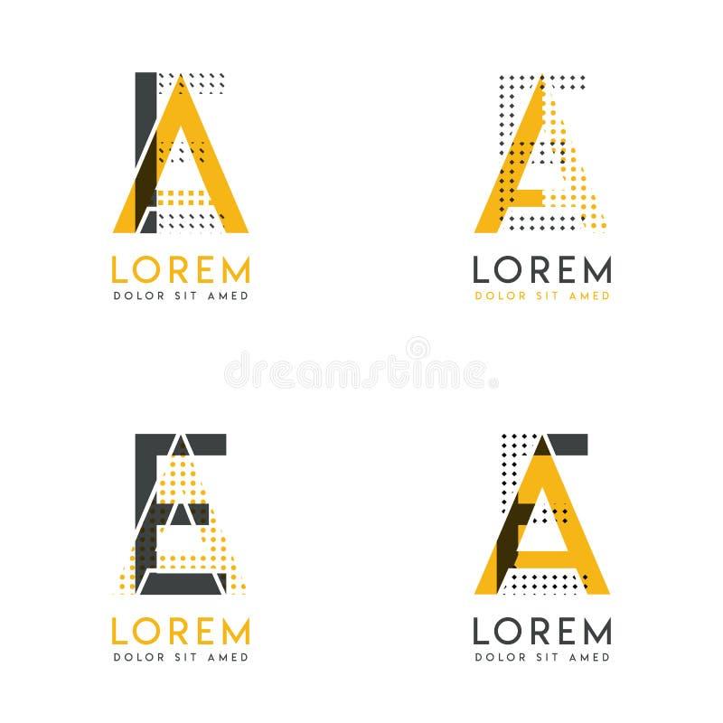 Un ensemble avec le logo abstrait de quatre EA Approprié aux sites Web et à l'identité d'entreprise, et peut être employé pour la illustration de vecteur