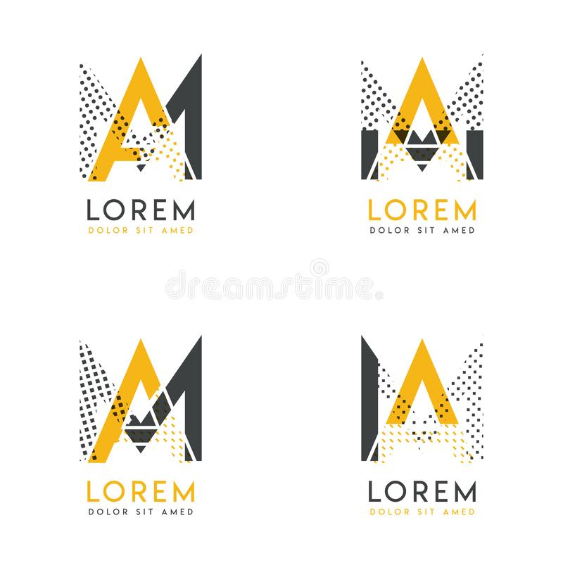 Un ensemble avec quatre le logo du résumé AM Approprié aux sites Web et à l'identité d'entreprise, et peut être employé pour la b illustration de vecteur
