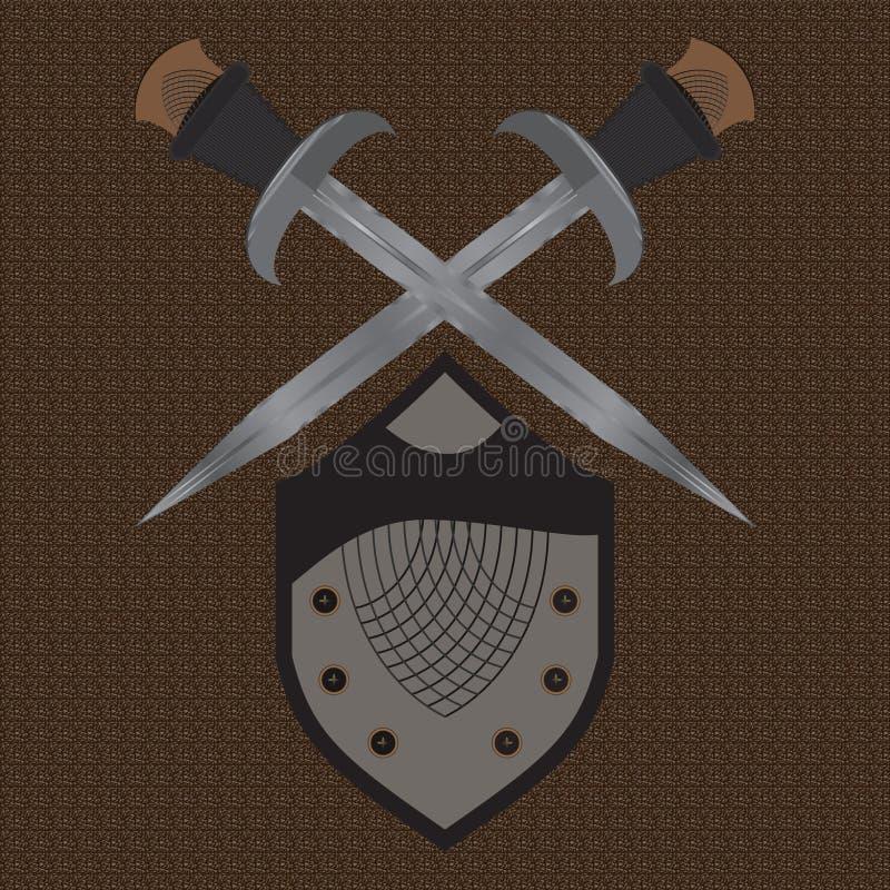 Un ensemble d'écran protecteur médiéval d'épées à deux tranchants illustration stock