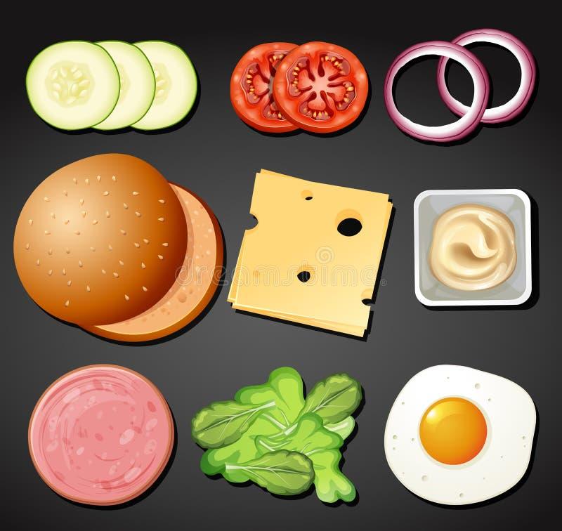 Un ensemble d'élément d'hamburger illustration stock